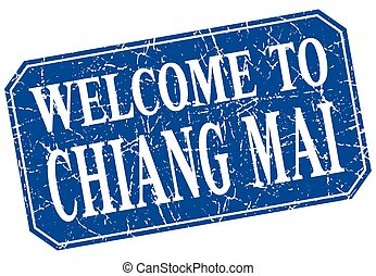 welcome to Chiang mai blue square grunge stamp