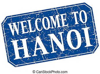 welcome to Hanoi blue square grunge stamp