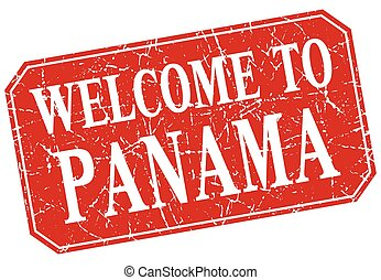welcome to Panama red square grunge stamp
