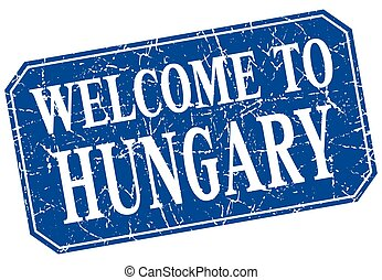 welcome to Hungary blue square grunge stamp