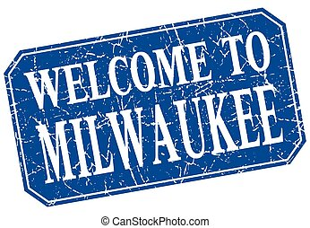 welcome to Milwaukee blue square grunge stamp