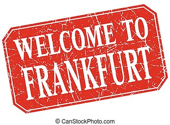 welcome to Frankfurt red square grunge stamp