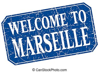 welcome to Marseille blue square grunge stamp