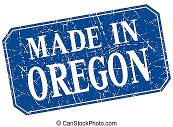 made in Oregon blue square grunge stamp