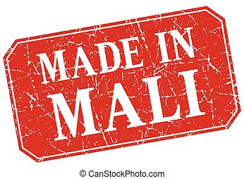 made in Mali red square grunge stamp