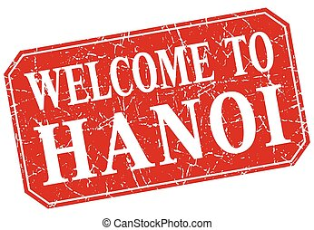 welcome to Hanoi red square grunge stamp