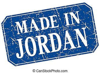 made in Jordan blue square grunge stamp
