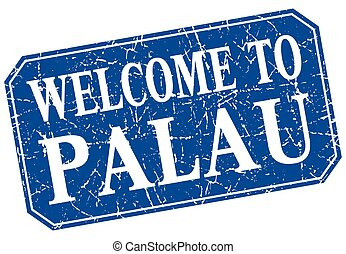 welcome to Palau blue square grunge stamp