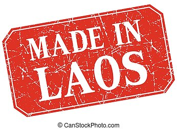 made in Laos red square grunge stamp