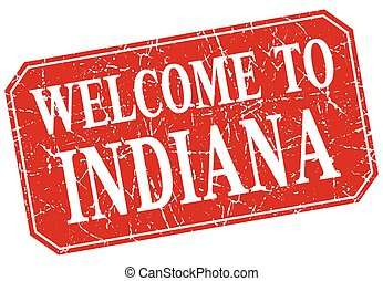 welcome to Indiana red square grunge stamp