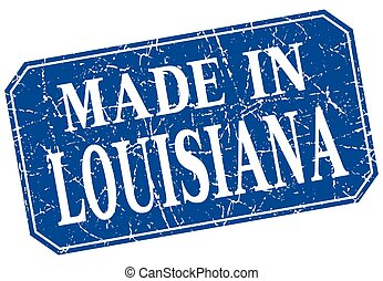 made in Louisiana blue square grunge stamp
