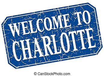 welcome to Charlotte blue square grunge stamp