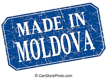 made in Moldova blue square grunge stamp