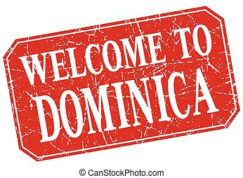 welcome to Dominica red square grunge stamp