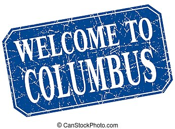 welcome to Columbus blue square grunge stamp