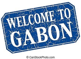 welcome to Gabon blue square grunge stamp