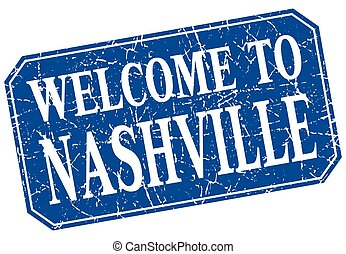 welcome to Nashville blue square grunge stamp