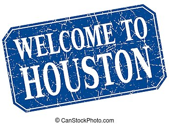 welcome to Houston blue square grunge stamp