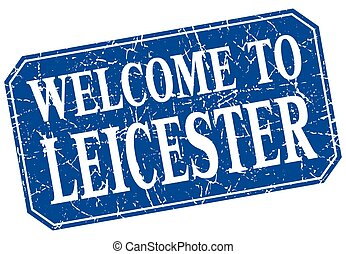 welcome to Leicester blue square grunge stamp