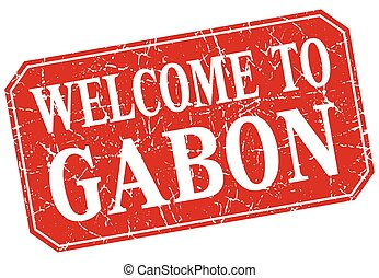 welcome to Gabon red square grunge stamp