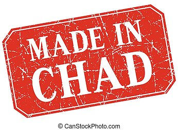 made in Chad red square grunge stamp