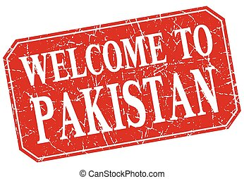 welcome to Pakistan red square grunge stamp