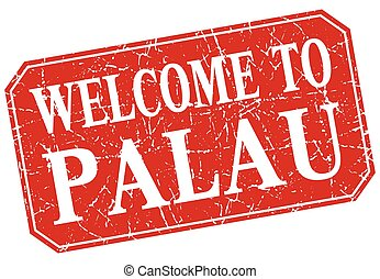 welcome to Palau red square grunge stamp