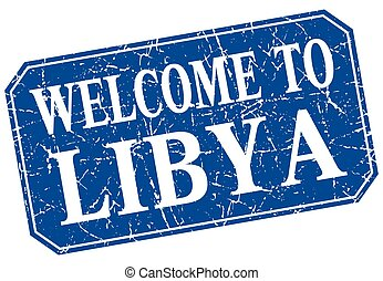 welcome to Libya blue square grunge stamp