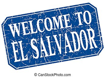 welcome to El Salvador blue square grunge stamp