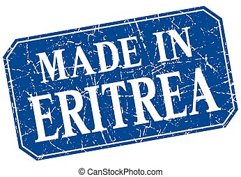 made in Eritrea blue square grunge stamp