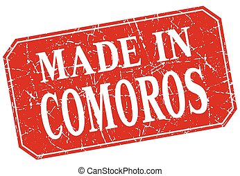 made in Comoros red square grunge stamp