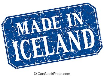 made in Iceland blue square grunge stamp