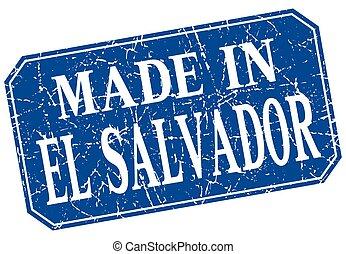 made in El Salvador blue square grunge stamp
