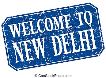 welcome to New Delhi blue square grunge stamp