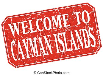 welcome to Cayman Islands red square grunge stamp