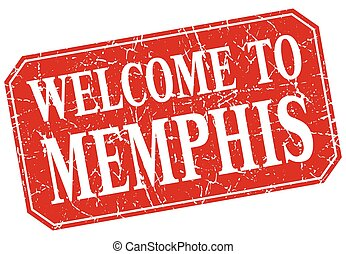 welcome to Memphis red square grunge stamp