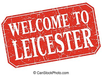 welcome to Leicester red square grunge stamp