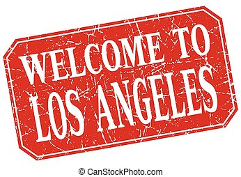 welcome to Los Angeles red square grunge stamp