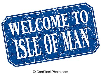 welcome to Isle Of Man blue square grunge stamp
