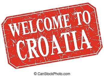 welcome to Croatia red square grunge stamp