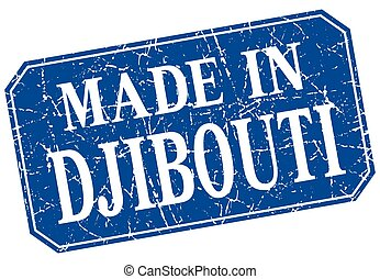 made in Djibouti blue square grunge stamp