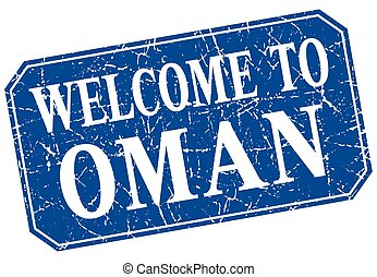 welcome to Oman blue square grunge stamp