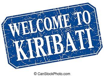 welcome to Kiribati blue square grunge stamp