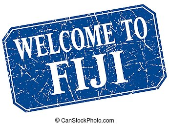 welcome to Fiji blue square grunge stamp