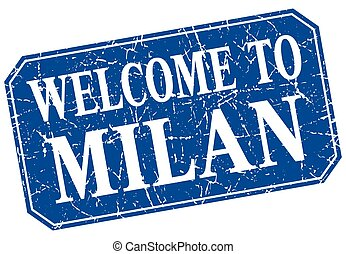 welcome to Milan blue square grunge stamp