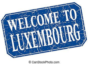 welcome to Luxembourg blue square grunge stamp