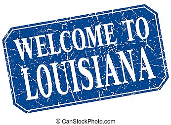 welcome to Louisiana blue square grunge stamp