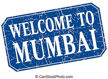 welcome to Mumbai blue square grunge stamp