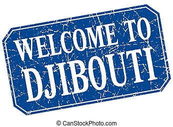 welcome to Djibouti blue square grunge stamp