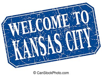 welcome to Kansas City blue square grunge stamp
